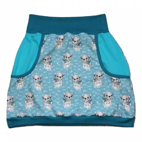 Damen Pumprock, Ballonrock Gr. 40, Hund, Mops, Rockabilly, mint, petrol, blaugrün