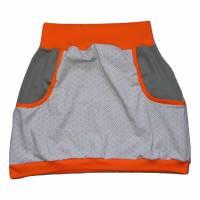 Damen Pumprock, Ballonrock Gr. 42, grau, orange mit Muster Bild 1