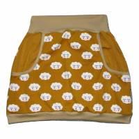 Damen Pumprock, Ballonrock Gr. 42, senfgelb, gelb, beige, Punkte, Wolken, Smile, Wolken mit Gesicht Bild 1