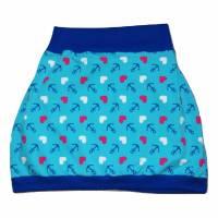 Damen Pumprock, Ballonrock Gr. 42, Anker, Herzen, maritim, türkis, dunkelblau, pink, weiß Bild 1