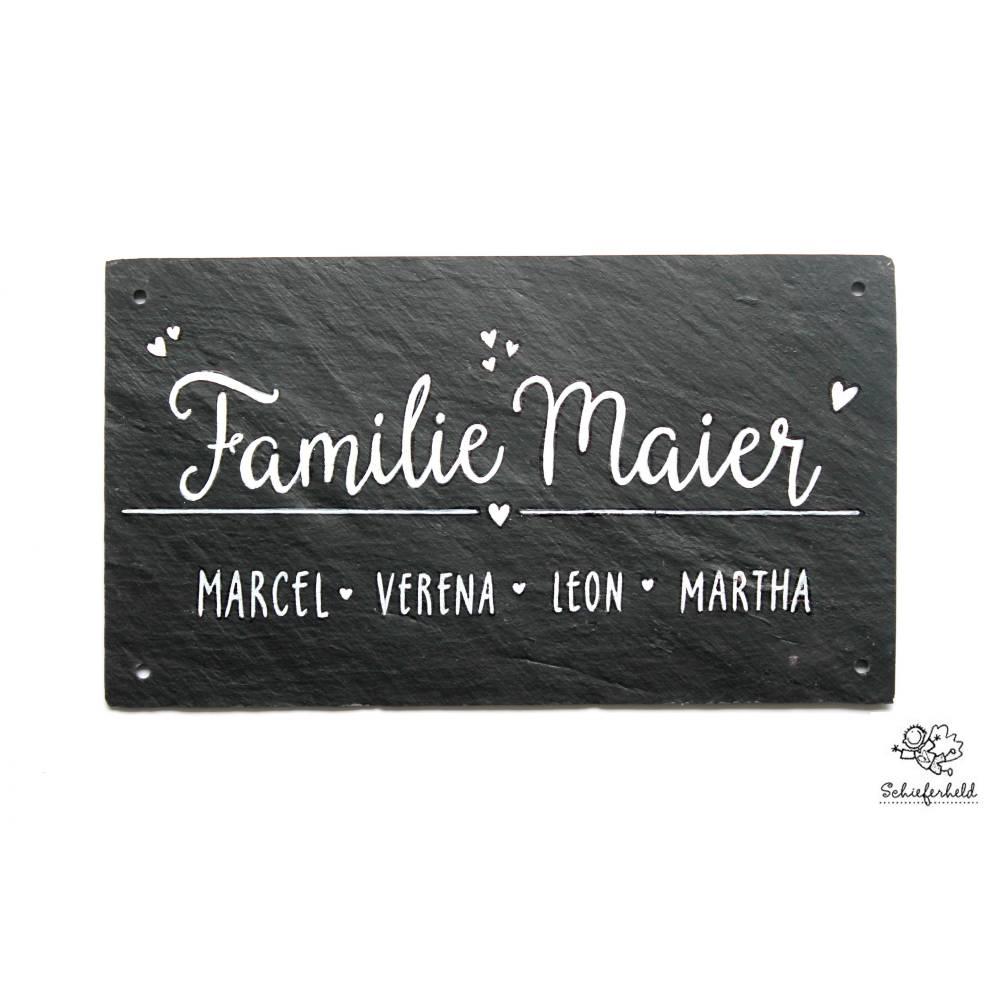 Schieferheld Familientürschild handbemalt individuell personalisiert, Unikat Familientürschild Schiefer Bild 1