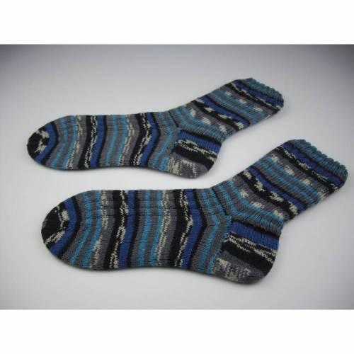 gestrickte Socken  Gr. 44-45 in grau,blau,schwarz,türkis,weiss,handgestrickt,Nr. 017