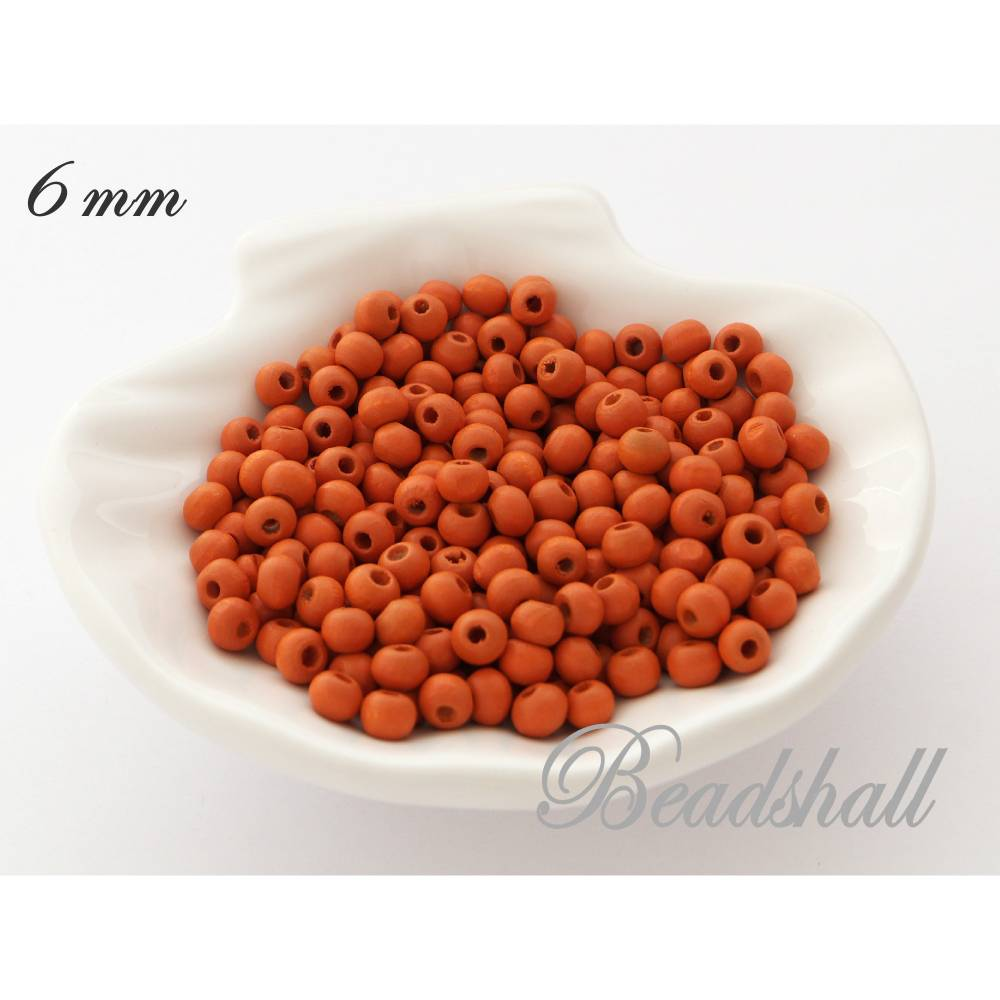 50 Holzperlen 6 mm Perlen Farbe Orange Naturperlen Holz Bild 1