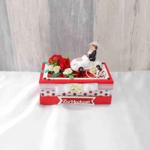 Geldgeschenk Hochzeit, rot, Hochzeitsgeschenk, Geschenke für das Brautpaar, Geldgeschenk Hochzeit Box, Geschenkschachtel