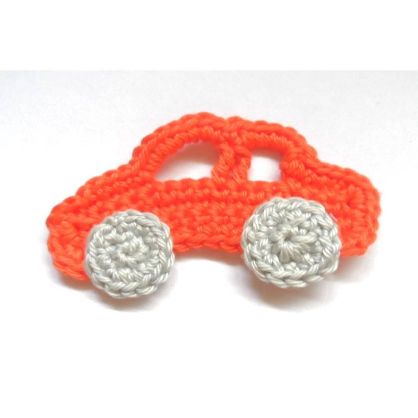 Häkelapplikation Auto orange/silber Bild 1
