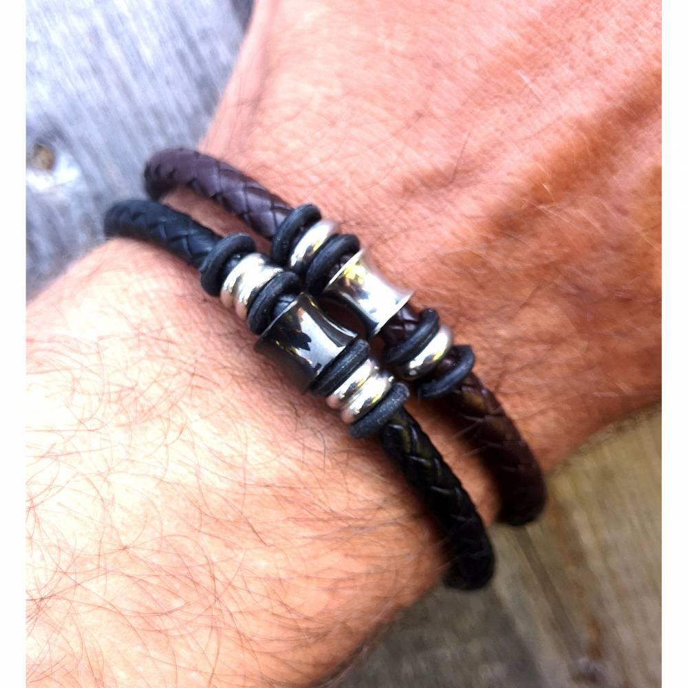 Armband, Leder, Edelstahl, Magnetverschluss, Lederarmband, unisex Bild 1