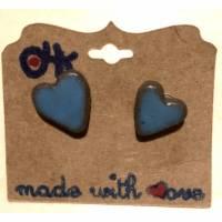 Keramik-Ohrstecker in Herzform, mittelblau glasiert, flach Bild 1