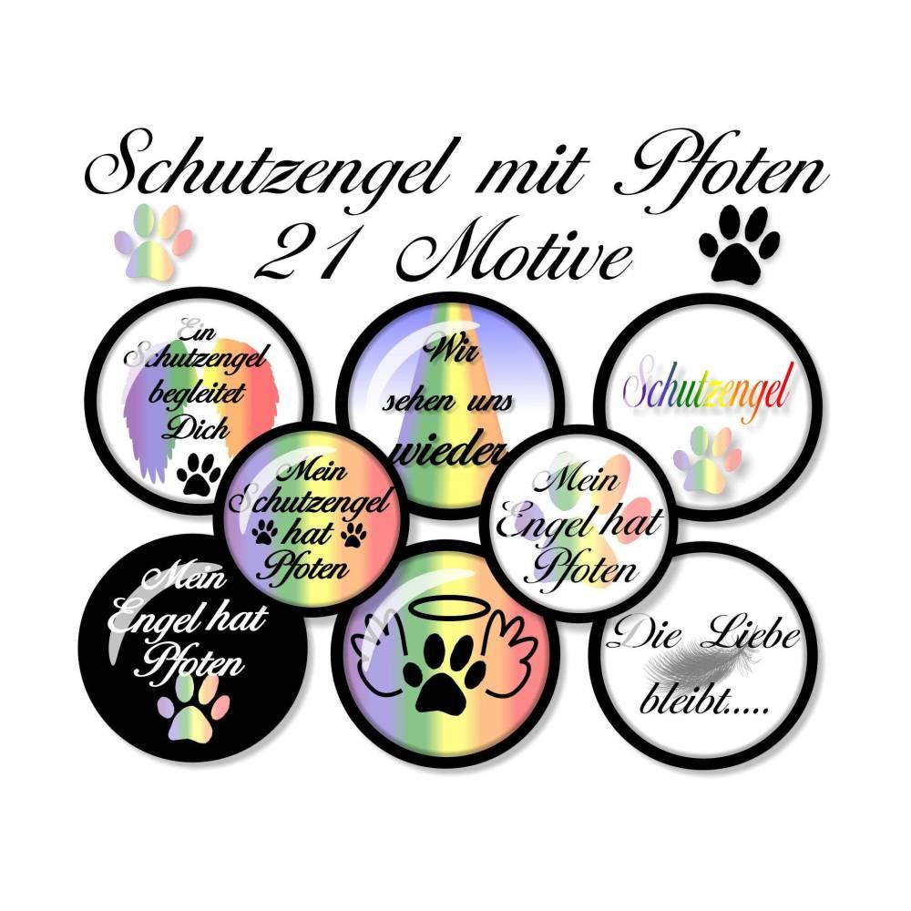 Cabochonbilder zum Ausdrucken, Schutzengel mit Pfoten, 21 Motive, Größe nach Wahl, rund, Regenbogenbrücke, Haustier, Hund, Katze Bild 1
