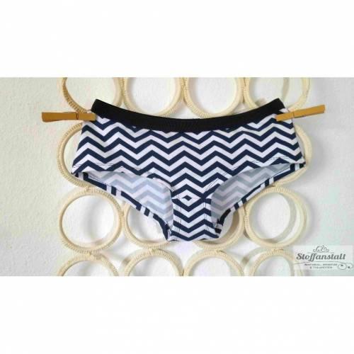 "MoodySous Damen-Hipster Unterhose basic ""Zickzack blau weiß"" aus Jersey Größen 34-44"