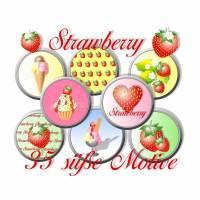 """""""Strawberry"""", Cabochonbilder Erdbeeren zum Ausdrucken, 35 Motive, Größe nach Wahl Bild 1"""