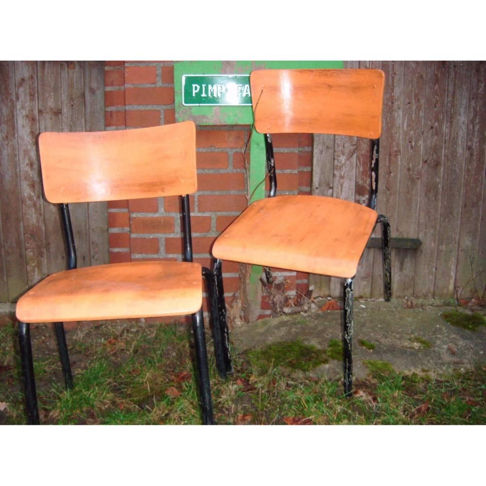 Vintage Werkstattstuhl Stahlrohr Industrie Design Shabby Chalk Paint *Workstation II* Shabby Chic Handarbeit von pimp-factory Bild 1
