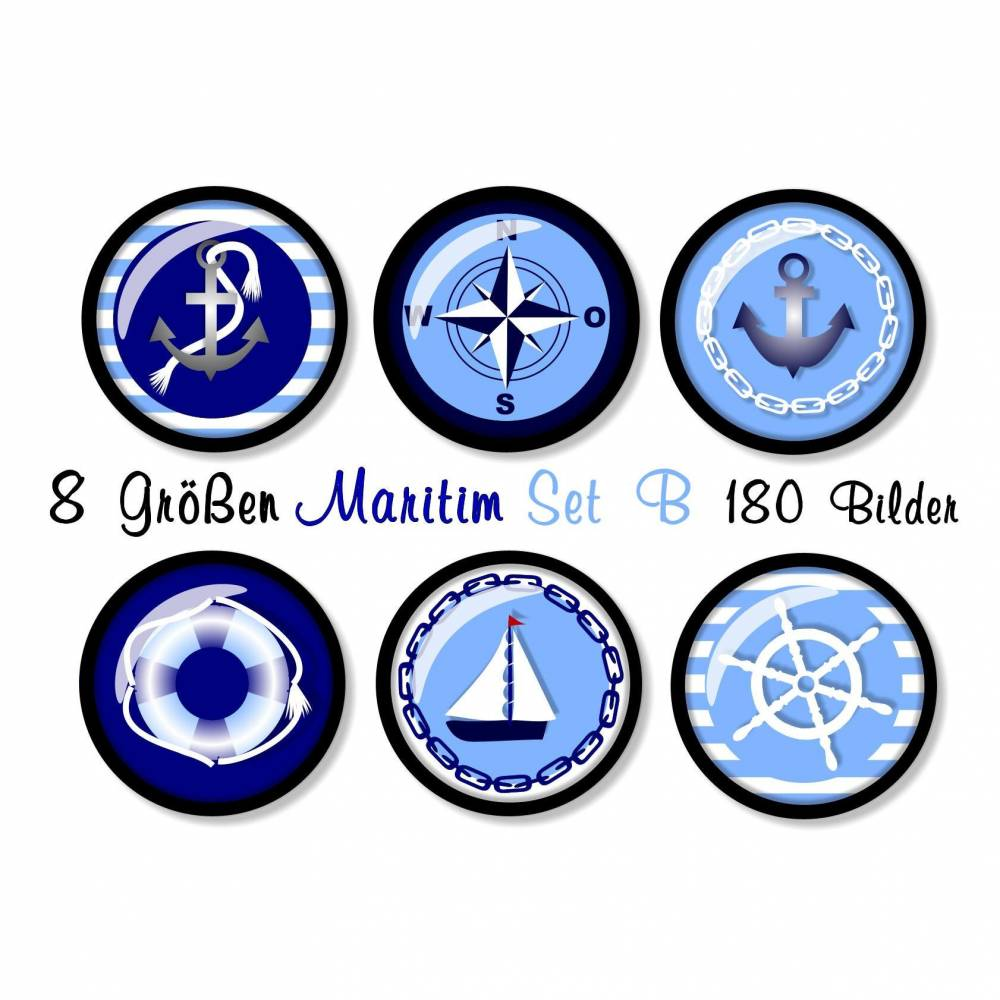 180 Cabochon-Bilder digital, 8 Größen, Set B, Maritime Motive, rund, Anker, Kompass, Steuerrad, Rettungsring, Segelboot Bild 1