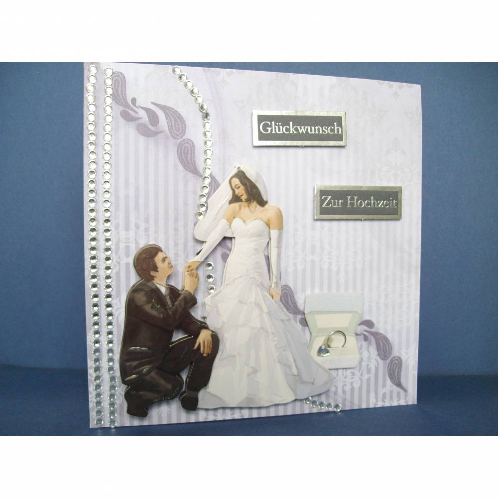 Hochzeitskarte, Grau, Edel Bild 1