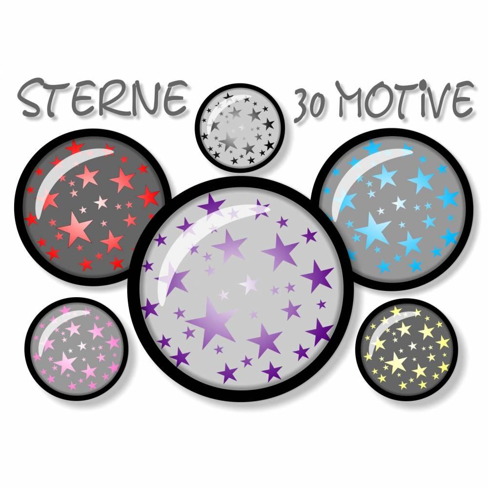 Cabochon-Vorlagen Sterne digital, Cabochonbilder, Sternchen, grau bunt, 30 Motive, rund, Größe nach Wahl, z.B. für Cabochon-Schmuck Bild 1