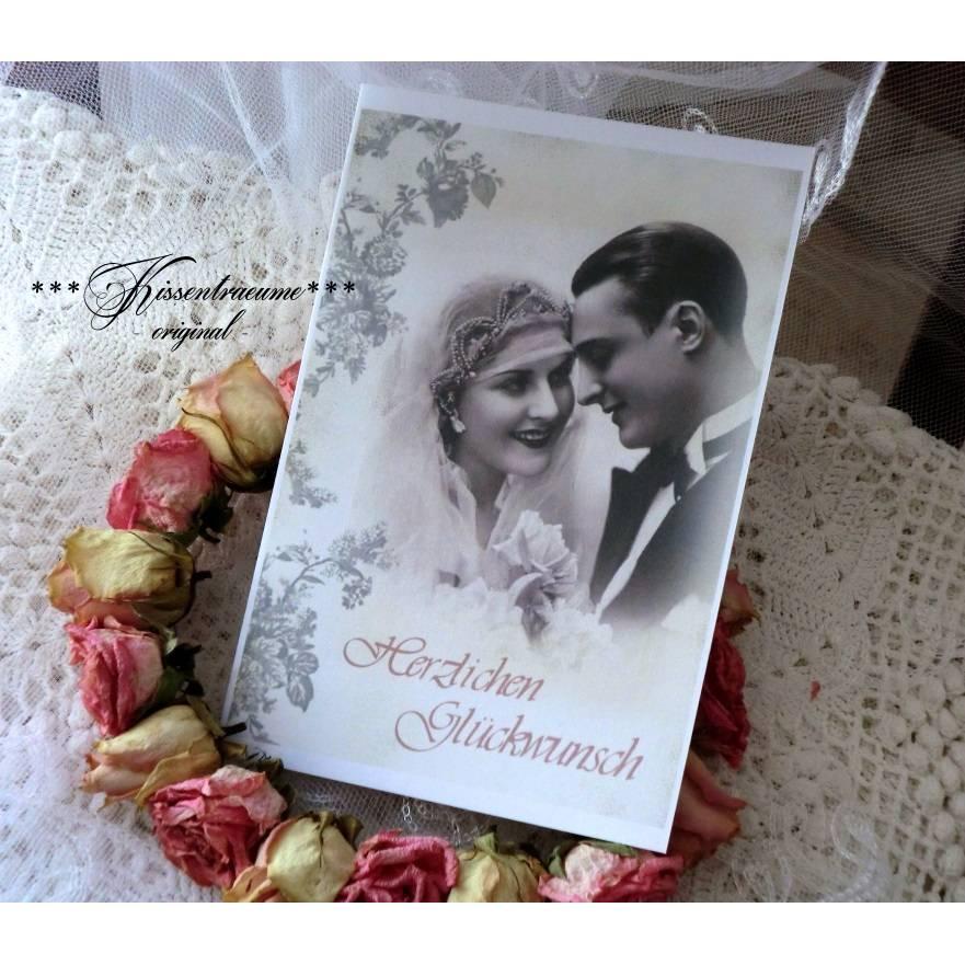 Hochzeit, Glückwunschkarte zur Hochzeit, Hochzeitskarte mit schönem Brautpaar im Vintage Stil. Bild 1