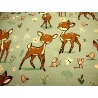 Sweatdruck French Terry Bambi junges Reh Rehkitz auf Spielwiese mit Maus, Schmetterling, Blumen, Vogel auf hellem mint Bild 1