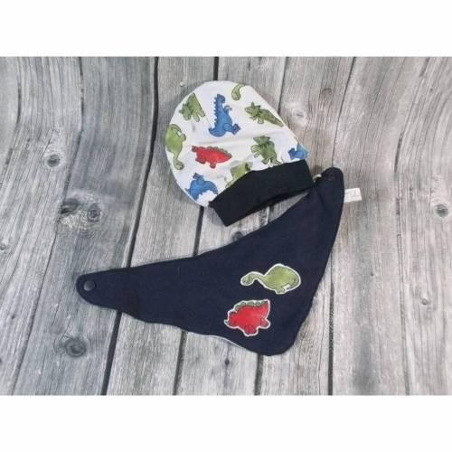 Mütze mit Halstuch Dinosaurier, Wendemütze, Wendehalstuch, Baby Set, Dreieckstuch, Jerseymütze, Jerseyschal