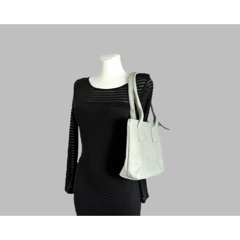 Handtasche echtes Leder, Farbe: hellgrau mit Innenfutter Bild 1
