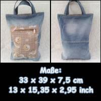 Jeans-Shopper – Travelbag – Shopper – Oktoberfest – Trachten-Tasche - Upcycling – Big-Bag - Jeans 2004 Bild 1