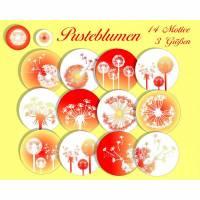Cabochon Vorlagen Pusteblumen, Cabochonbilder z. Ausdrucken, Rot Gelb, digital, 14 Motive, 10 mm, 12 mm, 25 mm, z.B. für Cabochonschmuck Bild 1