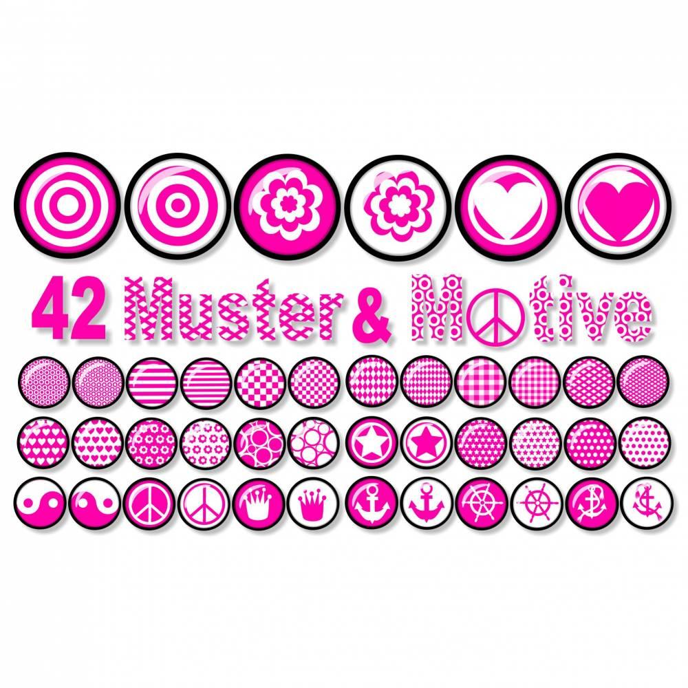 Cabochon Vorlagen zum Ausdrucken, Motive & Muster, Pink, Yin Yang, Peace, Anker, Krone Bild 1