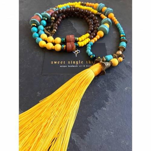 Bettelkette, Mala, Malastyle, Yoga, Yogaschmuck, Bohemian, Ethno, Gypsy, Quastenkette, charms, necklace, Perlenkette mit Anhänger