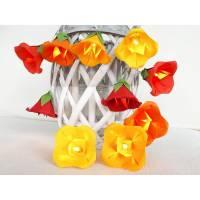 Lichterkette Glockenblume rot-gelb-orange, Kinderzimmerdeko, Geschenk Einschulung Bild 1