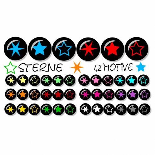 Cabochon Vorlagen digital, Sterne, Cabochonbilder, bunt, Schwarz, Türkis, pink, 42 Motive, rund, Größe nach Wahl, z.B. für Cabochon-Schmuck