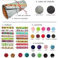 Brillenetui Wollfilz Filz Farbauswahl Leder + Kordel mit Webband Bild 4