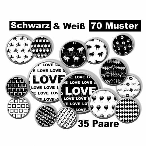 Cabochon Vorlagen digital, 35 Paare, Muster Black & White, rund, schwarz-weiß, Herz, Love, Größe nach Wahl, z.B. für Cabochon-Schmuck
