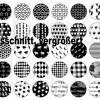 Cabochon Vorlagen digital, 35 Paare, Muster Black & White, rund, schwarz-weiß, Herz, Love, Größe nach Wahl, z.B. für Cabochon-Schmuck Bild 2