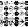 Cabochon Vorlagen digital, 35 Paare, Muster Black & White, rund, schwarz-weiß, Herz, Love, Größe nach Wahl, z.B. für Cabochon-Schmuck Bild 3