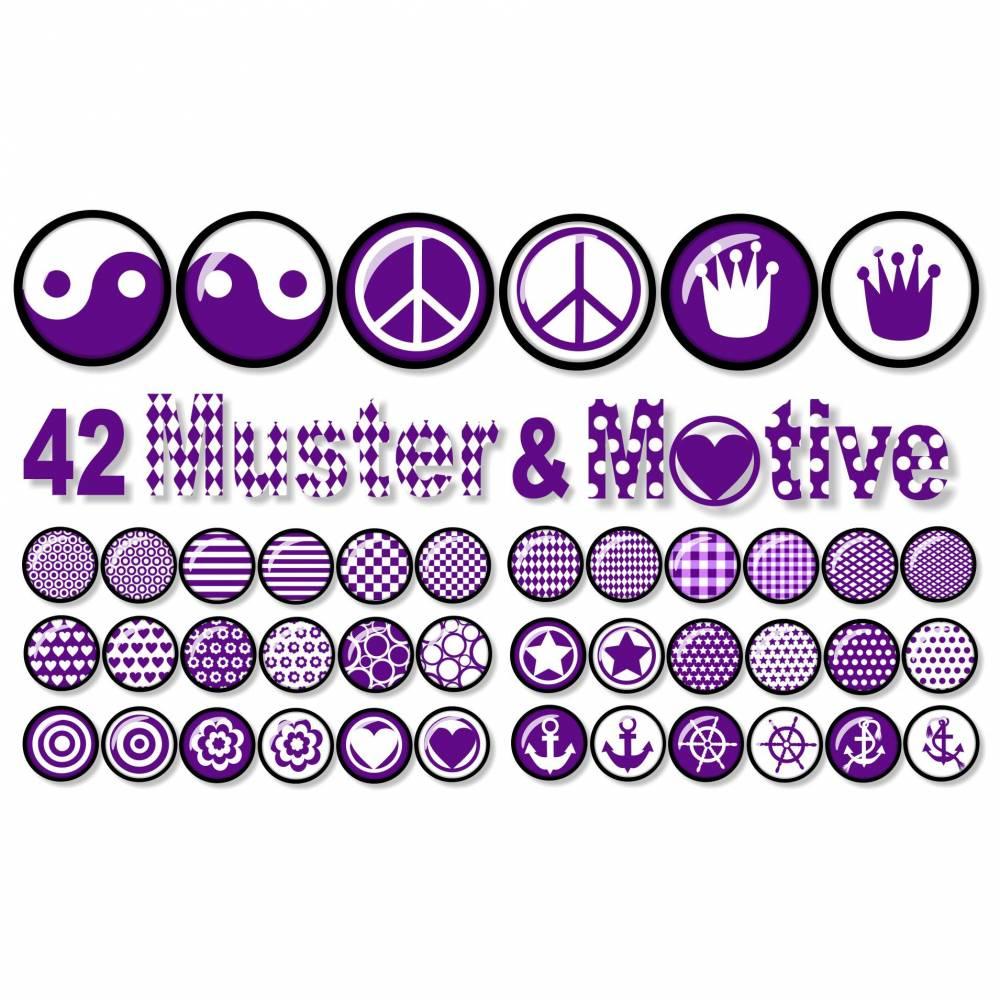 Cabochon-Vorlagen zum Ausdrucken, Motive & Muster, Violett, 42 Motive, Yin Yang, Peace, Anker, Krone, Größe nach Wahl Bild 1