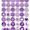 Cabochon-Vorlagen zum Ausdrucken, Motive & Muster, Violett, 42 Motive, Yin Yang, Peace, Anker, Krone, Größe nach Wahl Bild 2