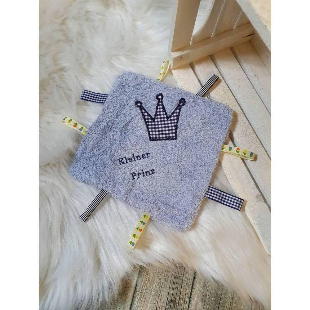 Knistertuch, Labeltuch, Schmusetuch mit Krone, Tuch für Babys, Kuscheltuch mit Label, Tuch aus Frottee Bild 1