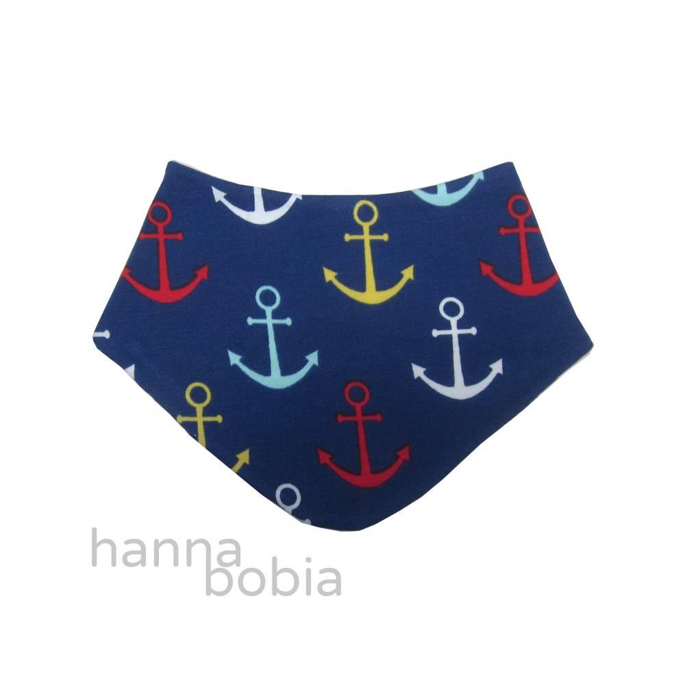 Baby-Halstuch, Dreieckstuch maritim mit bunten Ankern auf blau Bild 1