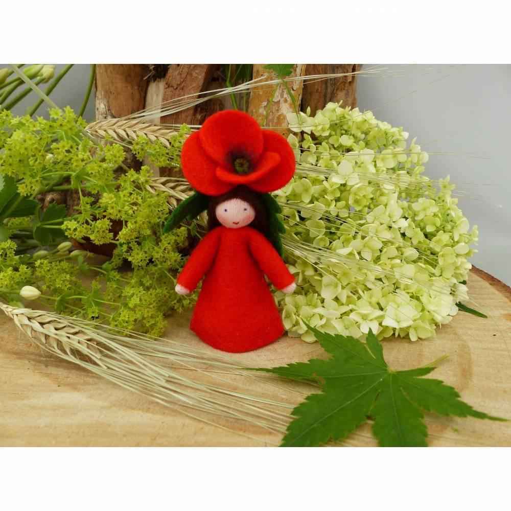 Blumenkind Klatschmohn-Mohn, Jahreszeitentisch Sommer, Filzpüppchen Bild 1