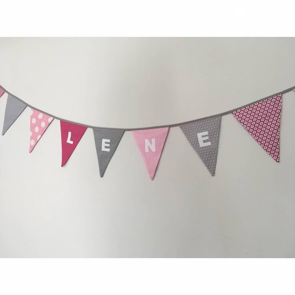 Wimpelkette • Wimpelkette mit Namen • Rosa/Grau/Pink• ab 100cm • Bild 1