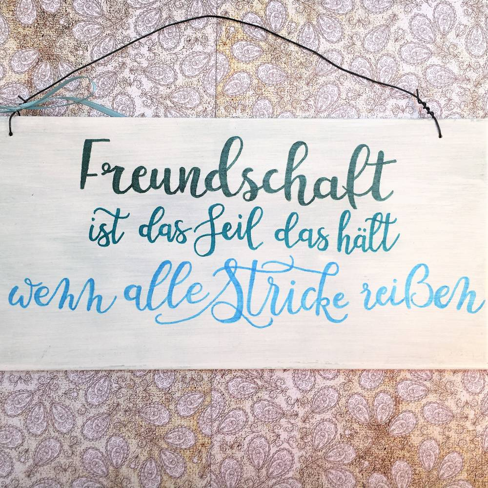 "Holzschild handbemalt, ""Freundschaft ist das Seil..."", Spruchschild, Deko, Freundschaft, Shabby, Liebe, Türschild, weiß, Geschenk, liebevoll Bild 1"