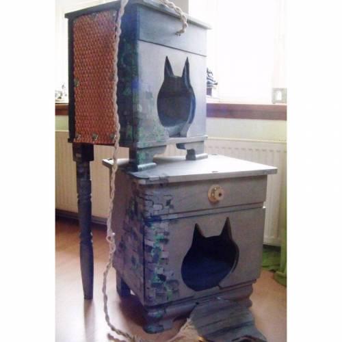 Shabby Chic Katzenhaus, upcycling Höhle aus vintage Nachtschränken im Mittelalter Style *Miau* Shabby Chic Handarbeit von pimp-factory