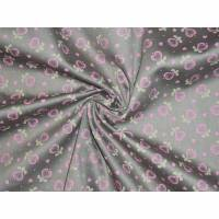 12,90 EUR/m Dirndl-Stoff, Herzen rosa auf beige, Baumwollsatin Bild 1