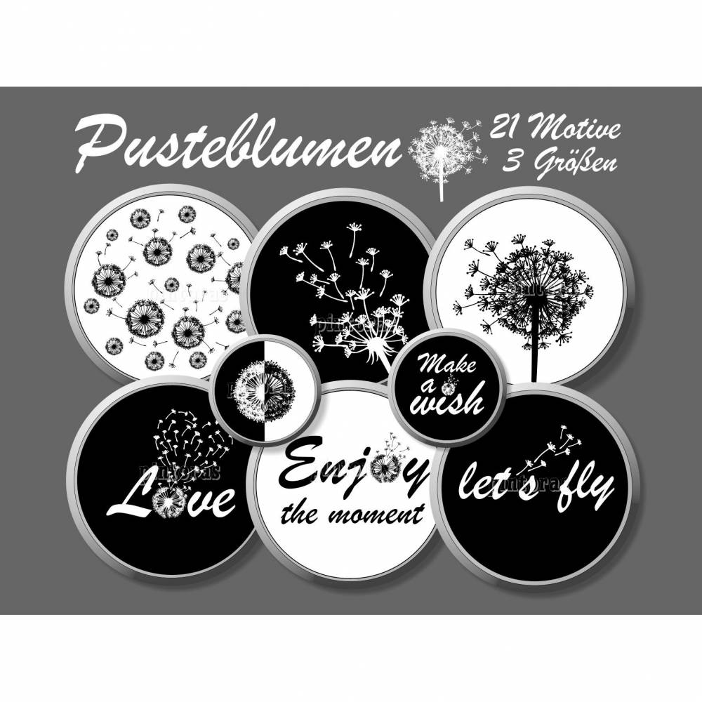 Cabochon-Vorlagen Pusteblumen mit Sprüchen, schwarz-weiß, live, laugh, love, Set C, 21 Motive 3 Größen 12 mm, 14 mm, 25 mm Bild 1