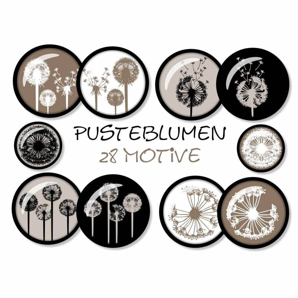 Cabochon-Vorlagen digital, Pusteblumen, Taupe, Weiß, Schwarz, Braun, Löwenzahn, rund, Größe nach Wahl, z.B. für Cabochon-Schmuck Bild 1