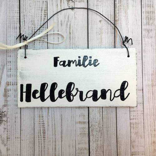 Holzschild Türschild FAMILIE Name Vintage Namensschild Haustür Dekoration personalisiert selber gestalten Klingelschild individuell