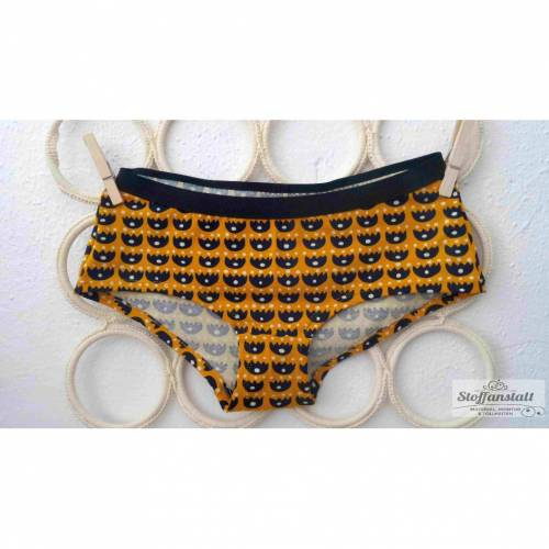 "MoodySous Damen-Hipster Unterhose ""Tulpen senf"" gelb Punkte aus Biojersey Größen 34-44"