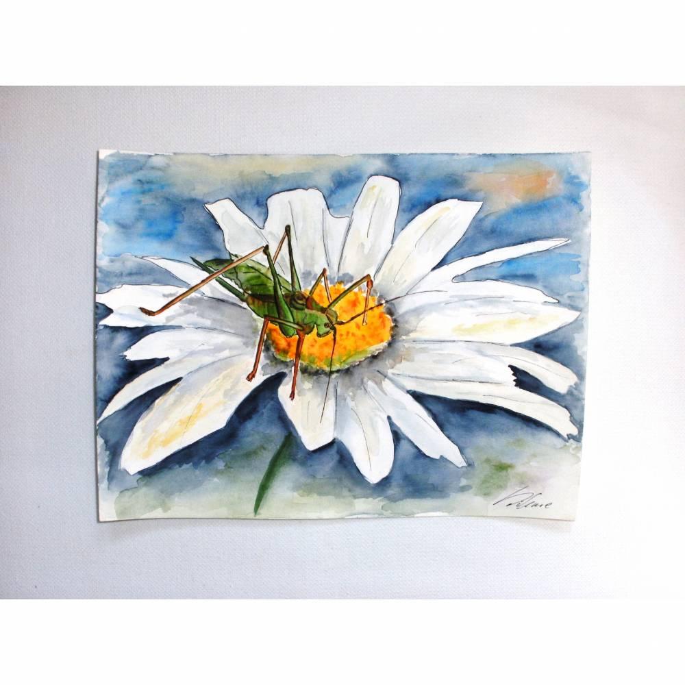 Original Aquarell Bild Heupferd auf Margerite Gemälde Grashüpfer Blume Bild 1