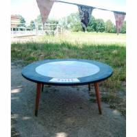 Beistelltisch Holz Tisch rund shabby chic redesign upcycling * Shabby Chic Handarbeit von pimp-factory Bild 1