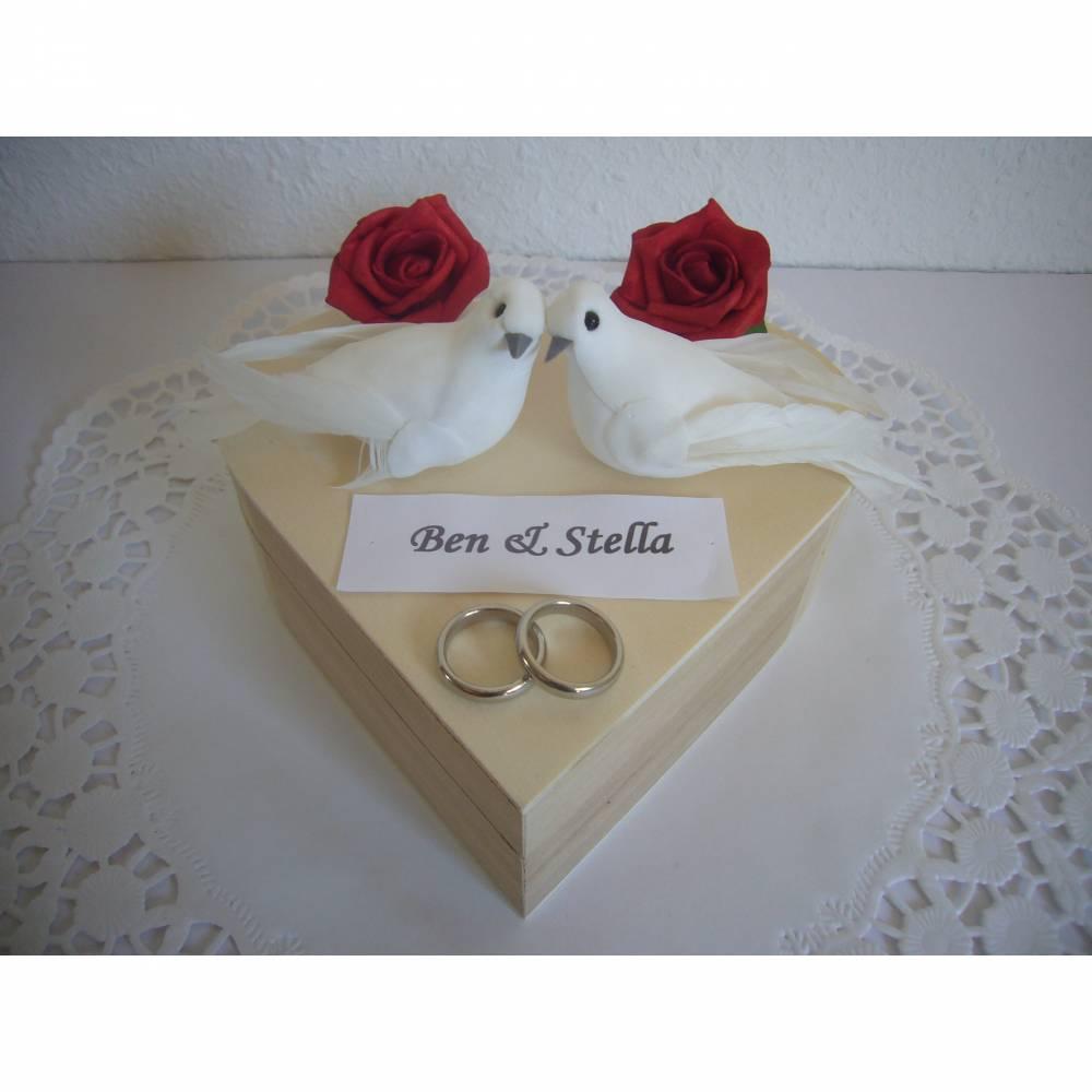 Geldgeschenk Herz Tauben Rosen Hochzeitsgeschenk Flitterwochen Geld schenken Hochzeit Bild 1