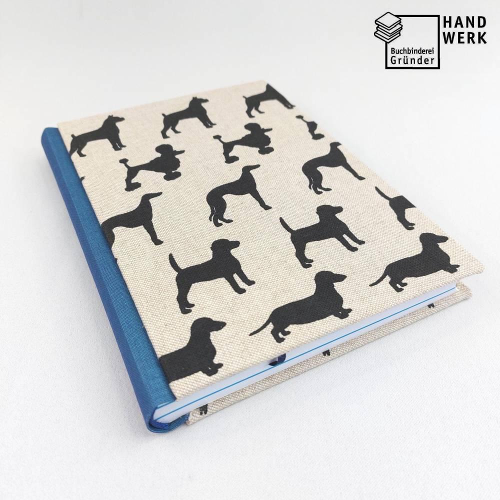 Notizbuch, Hunde, DIN A5, 300 Seiten, blau natur schwarz, Tagebuch, Kladde, Skizzenbuch Bild 1
