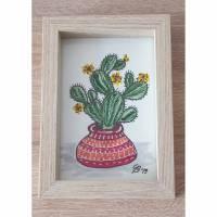 Kaktus 2, Aquarell mit Rahmen Bild 1